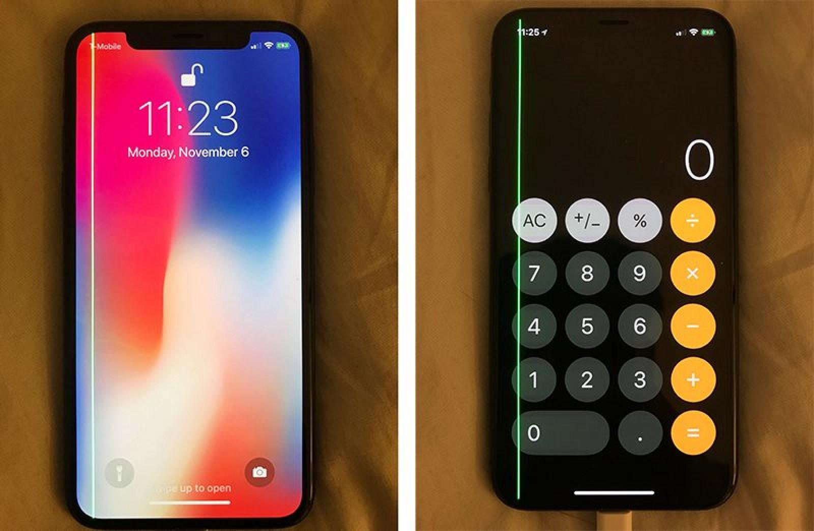 Зеленая полоса на экране iPhone X