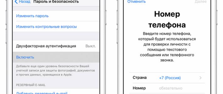 Информация о SMS-сообщениях и двухэтапной проверке