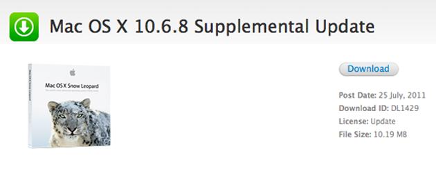 Информация об обновлении Mac OS X 10.6.8