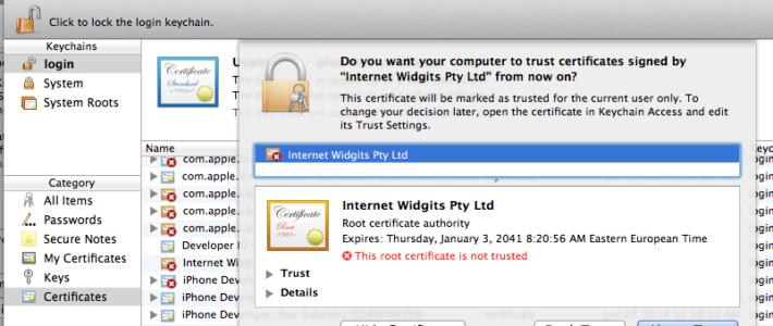 Перечень доступных доверенных сертификатов macOS
