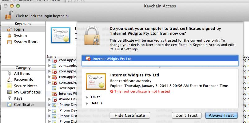 Перечень имеющихся проверенных сертификатов для iOS 12, watchOS 5, macOS 10.14 и tvOS 12