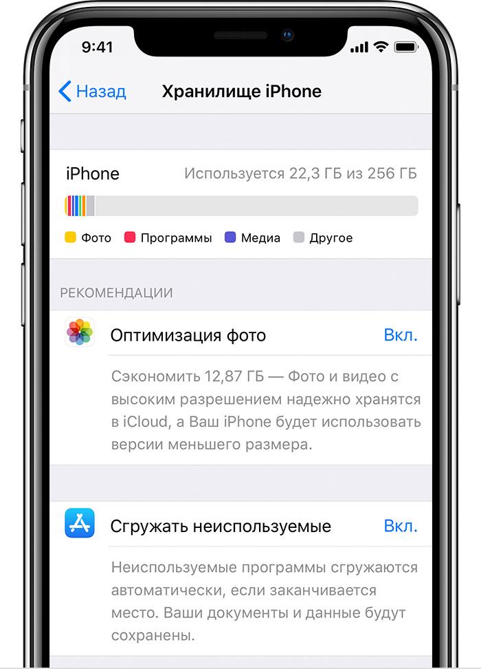 Сведения о хранении информации в приложении iCloud